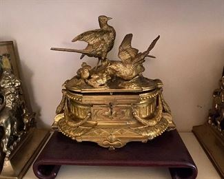 Antique Jules Moigniez Gilt Bronze jewelry box.