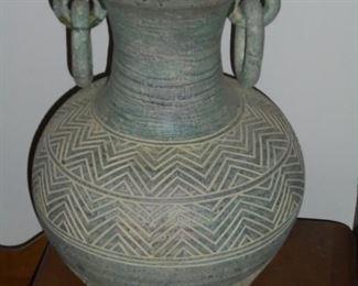 Aztec style pottery pot w/ring handles