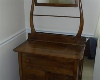 Antique wood dressing stand w/mirror, towel rack, & 3 drawers on metal castors. All original and no chips or cracks in mirror