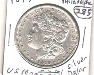 1879 Morgan U.S. silver dollar in beautiful condition.  We think it will probably grade Uncirculated.  PLease inspect for yourself.