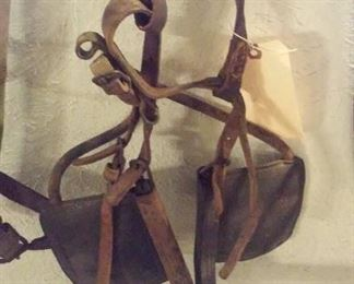 There are 3 sets of old horse / mule blinders in this sale, all different.