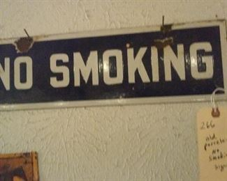 old porcelain no smoking sign. ca 1950s or earlier