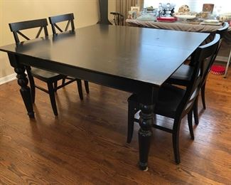 Pottery Barn table with 2 leafs and 4 chairs.....