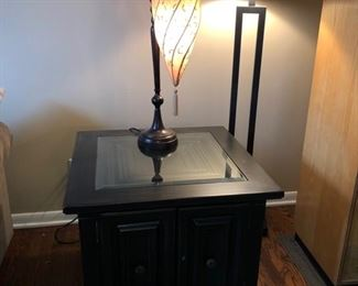 Matching end table, table lamp and floor lamp
