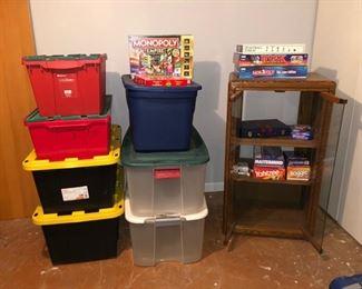 Storage bins and games