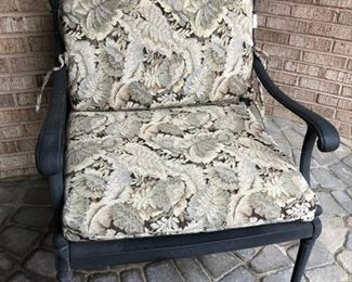 (2) patio chairs shown with cushion