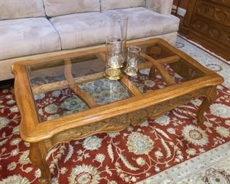 Hickory Manufacturing wood and glass coffee table