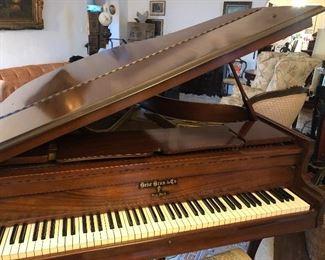 Vintage Mahogany Behr Bro's & Co Baby Grand Piano - Excellent Condition