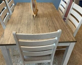 Coastal 'Plank Top' Rectangular Dining Table w/6 Chairs - $485