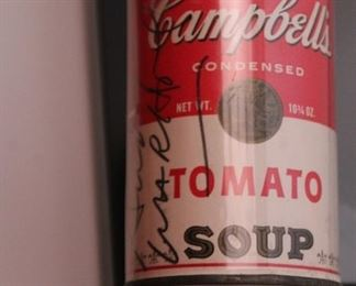 Signed by Andy Warhol Campbell's soup can