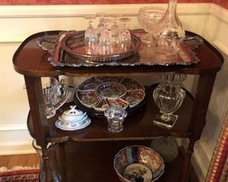 Mahogany Bar Cart Waterford, Baccarat, Lalique Crystal