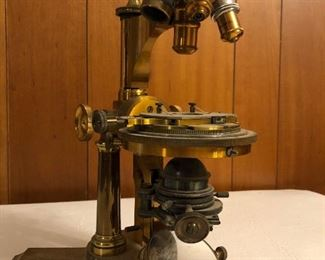 BAUSCH & LOMB ANTIQUE BRASS MICROSCOPE