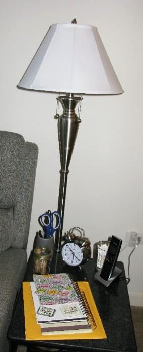brushed stainless steel floor lamps  (there are 2)  2 bulb lighting.   BUY IT NOW  $ 68.00 each