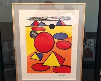 """RED SEA AND PYRAMIDS"" ORIGINAL LIMITED EDITION LITHOGRAPH BY ALEXANDER CALDER, HAND SIGNED AND NUMBERED, EA ARTIST PROOF, WITH CERTIFICATE OF AUTHENTICITY, EXCELLENT CONTITION, FRAMED"