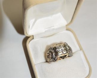 Antique Masonic Men's Yellow and White Gold Ring with Large Diamond