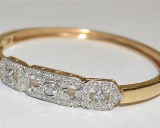 Incredible Art Deco Yellow Gold and Pave Diamond Bangle Bracelet