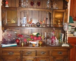 china hutch, much glassware in this sale