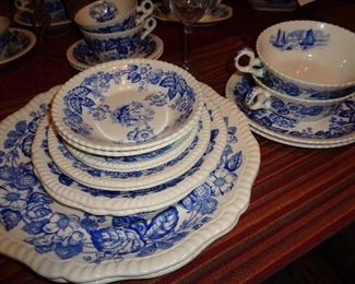 Spode, Old Salem, service for 8 w/extra pieces. Very nice. Only used when the preacher came to dinner ….