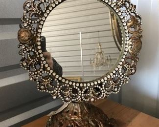highly decorated vanity standing mirror