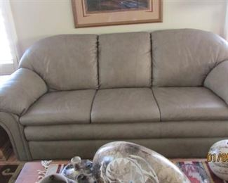 Grey leather sofa also matching chair & ottoman