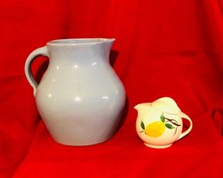Vintage 1920-1930's blue pottery pitcher  Small lidded pitcher looks like blue ridge but is unmarked.