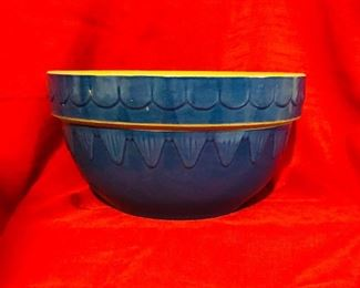 Vintage Clay City Ind. Royal blue cobalt glaze pottery bowl/ picket fence pattern