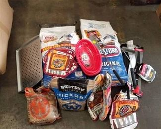 BBQ Supplies Lot - Charcoal, Wood Chips, Utensils…