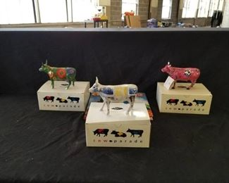 3 KC Cow Parade Figurines and Book