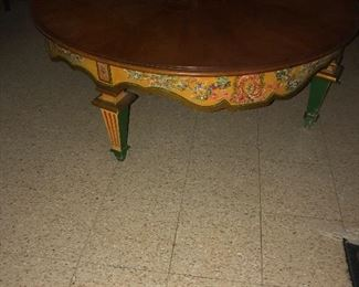 Very cool hand painted round coffee table  I love it!!