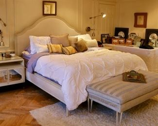 Upholstered lucite footed bench, contemporary modern bedroom suite w/ grasscloth bedframe