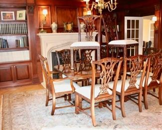 Maitland Smith around every corner, including this Chippendale style dining table +10 chairs