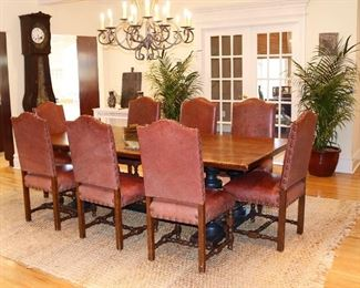 Custom 8 ft Tiger Maple Heirloom Barn Table by Foster's Cabinet Shop; chandeliers are for sale also!