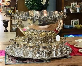 Resilvered Punch Bowl and Footed cups with ornate Tray
