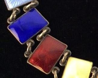 Arts & Crafts Era Multi Color Enameled Bracelet