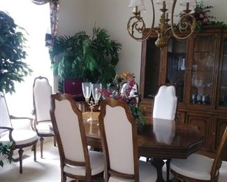 Kindel dining table, chairs, buffet server and china cabinet