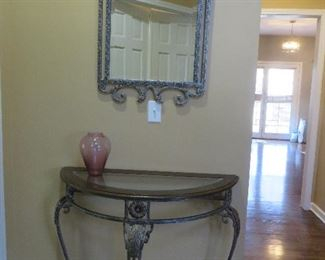 Wrought Iron Demilune Hall Table