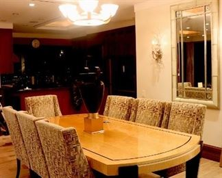 Deco Dining Room Table with 8 Kravet Chairs