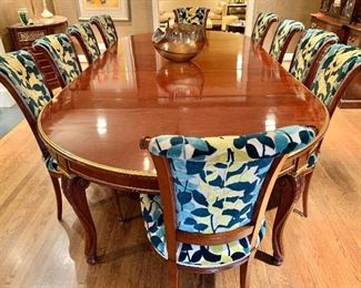 Stunning Dining Table and Chairs.  Gilded vintage table purchased in Paris.