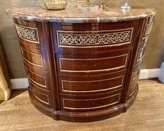 Vintage demilune with marble top