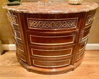 Vintage demilune with marble top (2 of 2)