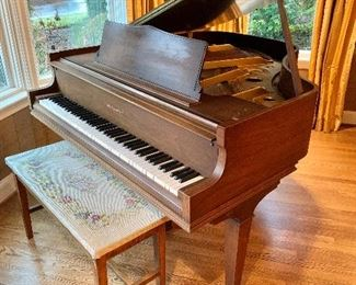 Wm. Knabe Baby Grand Piano and bench.  Made in USA.