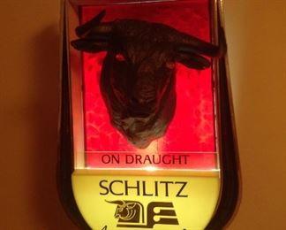 Back Bar Lighted Display Schlitz Malt Liquor on Draft Vintage Beer Sign