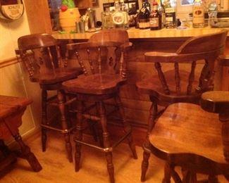 Bar Stools Swivel Solid Wood