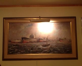Navy Ships Original Oil Painting