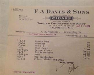 1924 Ephemera Local Receipts  Cigars Baltimore, Md