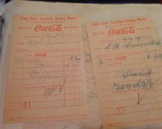 Coca Cola Front Royal Va - 1924 Ephemera Local Receipts