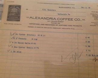 RARE Alexandra Coffee Co - 1924 Ephemera Receipts