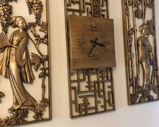 3 piece wall art and clock