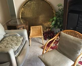 Retro chairs and large brass tray table
