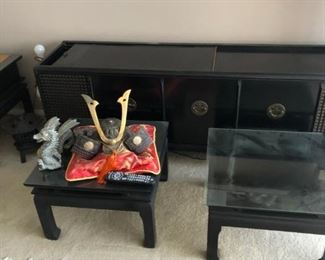 Tables in front of Retro Stereo Console